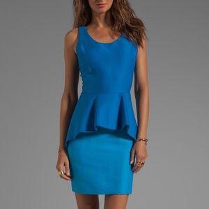 Halston Heritage Colorblock Peplum Sheath Dress
